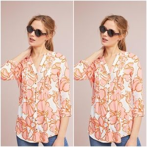 Anthropologie | Floral Pintuck Button Blouse Med